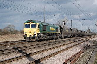 British Rail Class 66 - Freightliner 66 610 on the East Coast Main Line near York