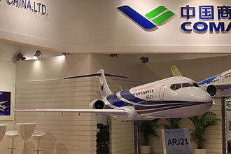 Comac ARJ21 - A scaled-down model of ARJ21-700 on display at Singapore Airshow 2010