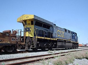 GE AC6000CW - Hood end view of CSX Transportation's 627 at Pinner's Point in Portsmouth, Virginia, note the enlarged radiator section overhanging the rear of the unit