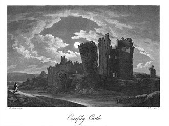 Caerphilly Castle - An original aquatint of the castle at the end of the eighteenth century, prior to rebuilding.