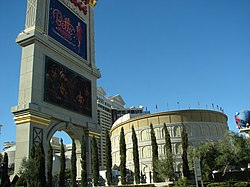 Exterior of the Caesars Palace Hotel and Casino in Las Vegas, Nevada. The image show the exterior of its theatre, The Colosseum at Caesars Palace, along with the marquee for the casino