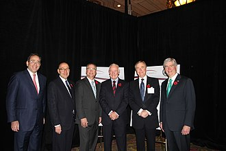 David Johnston - Johnston (third from right) with (from left to right) United States Deputy Secretary of State Thomas R. Nides, United States Ambassador to Canada David Jacobson, Minister of State for Science and Technology Gary Goodyear, Canada 2020 Chair Don Newman, and Governor of Michigan Rick Snyder at the US-Canada Partnership: Enhancing the Innovation Ecosystem conference at the Château Laurier in Ottawa, November 2, 2011