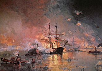 Capture of New Orleans - Farragut's flagship, USS Hartford, forces its way past Fort Jackson.