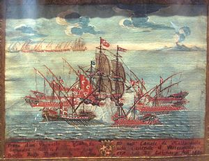 Navy of the Order of Saint John - A painting showing Maltese galleys capturing an Ottoman vessel in the Malta Channel in 1652.
