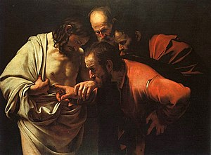 Visions of Jesus and Mary - The Incredulity of Saint Thomas by Caravaggio.