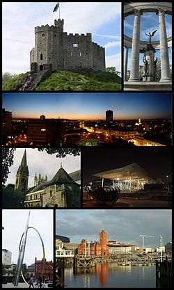 時計回りに上から、Cardiff Castle, Welsh National War Memorial, Cardiff city centre, The Senedd, Cardiff Bay, Alliance及びLlandaff Cathedral.