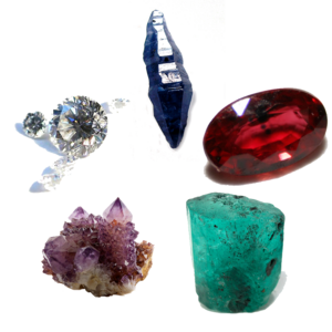 Cardinal gem - The five cardinal gems. Clockwise from top: sapphire, ruby, emerald, amethyst, diamond.