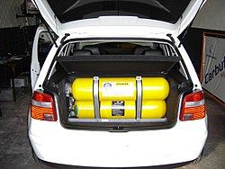 Gas storage in a car.