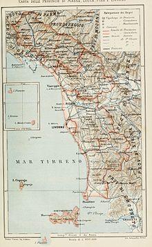 Mappa delle provincie di Massa, Lucca, Pisa e Livorno del 1896