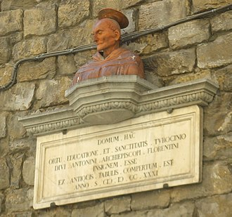 Antoninus of Florence - Bust outside the family home of St. Antoninus  Torre dei Pierozzi, Florence, Italy