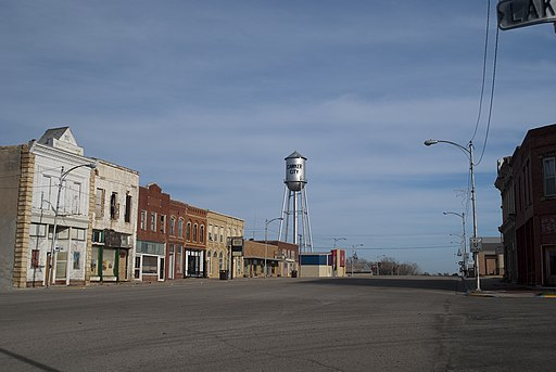 Cawker City, Kansas downtown and water tower seen from the world's largest ball of twine