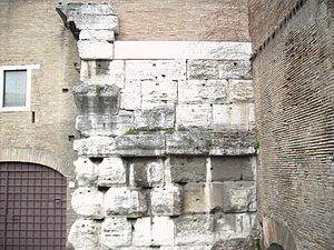 Temple of Claudius - Remains of the Temple at the base of the tower of the basilica of Santi Giovanni e Paolo, Rome