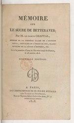 Jean-Antoine Chaptal: Mémoire sur le sucre de betterave