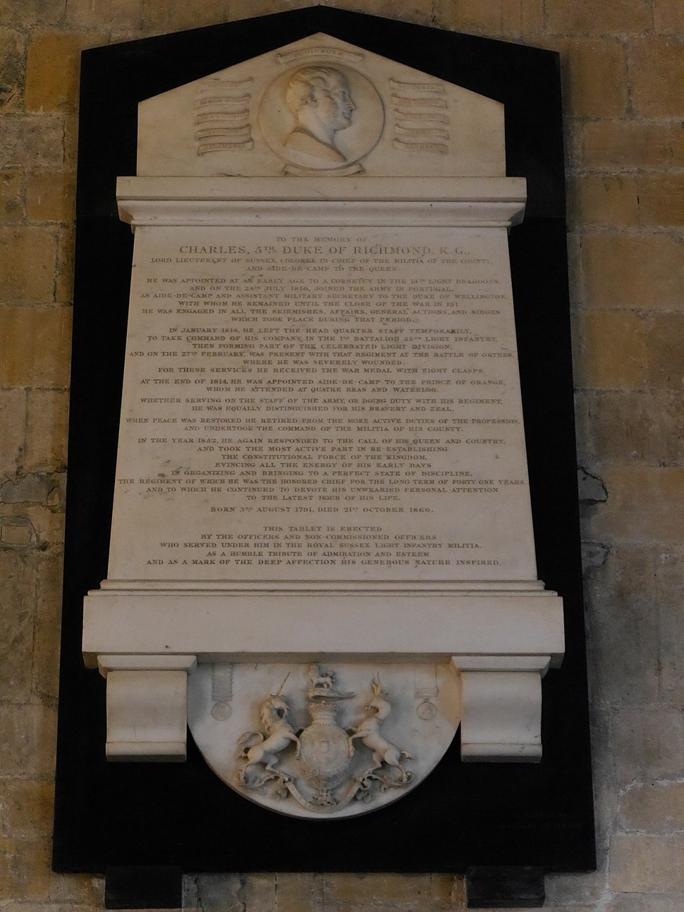 Charles Gordon-Lennox, 5th Duke of Richmond memorial, Chichester Cathedral, July 2015 01