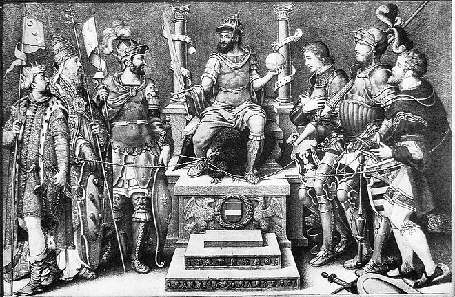 Charles V, enthroned over his defeated enemies (from left): Suleiman the Magnificent, Pope Clement VII, Francis I of France, the Duke of Cleves, the Duke of Saxony, and the Landgrave of Hesse. Giulio Clovio, mid-16th century Charles V enthroned over his defeated enemies Giulio Clovio mid 16th century.jpg