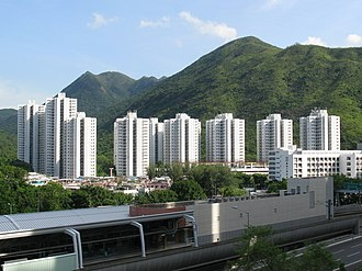 Public housing estates in Ma On Shan - Chevalier Garden and MTR Tai Shui Hang Station
