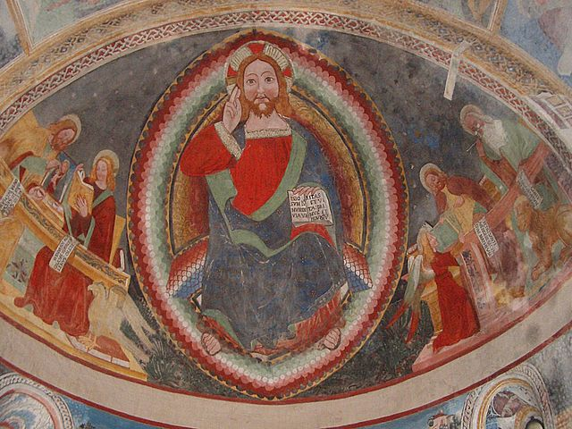 "Biasca, St. Peter and Paul church, ""Christ Pantocrator"", apsis fresco, XV century, dans immagini sacre"
