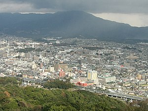 Chikushino, Fukuoka - Panoramic view of downtown Futsukaichi