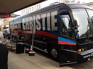 Chris Christie - Christie's campaign bus pulls out front of Stainton Square in Ocean City, New Jersey