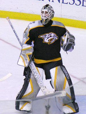 Chris Mason (ice hockey) - Mason in goal for the Nashville Predators in 2006.