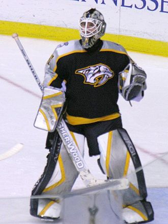Chris Mason (ice hockey) - Mason in goal for the Nashville Predators in 2006.