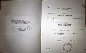 USS Stembel (DD-644) - The menu was made of standard 8 1/2 x 11 paper folded in half. This is the inside.