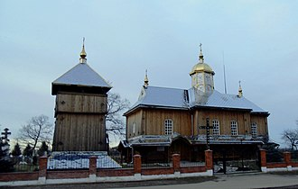 Lysiatychi - Image: Church and bell tower of the Nativity of Christ church 1874 (wooden). Lysyatychi 2