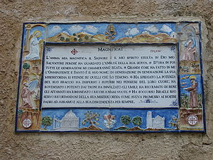 Hymns to Mary - The Magnificat on the wall of the Church of the Visitation.
