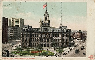 Detroit City Hall - A circa-1910s postcard depicting the old Detroit City Hall and Campus Martius