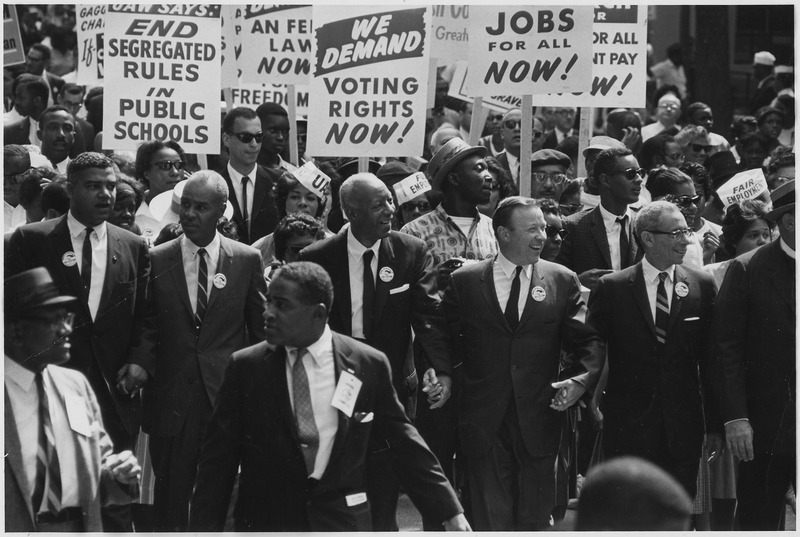 Civil Rights March on Washington, D.C. (Leaders marching from the Washington Monument to the Lincoln Memorial) - NARA - 542010