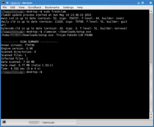 Clam AV 0.96, running a definition update, scanning a file and identifying a Trojan from the command-line.