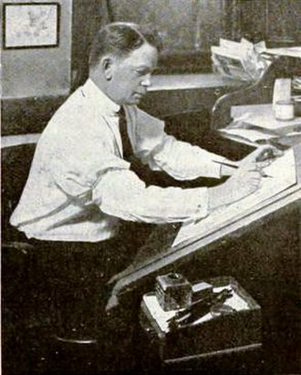 Clare Briggs - Briggs at work in 1919