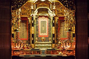 Butsudan - Close-up view of the inner altar with the painted scroll of the Buddha