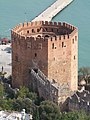 Close-up of Kizil kule as seen from Castle Hill, Alanya, Turkey.JPG