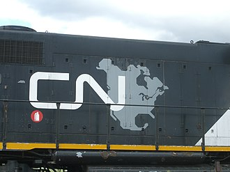 "The ""CN North America"" logo. This was used from 1993 to 95, before the company returned to the plain ""CN"" logo, which is still in use. Cn7402.JPG"