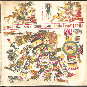 Aztec creator gods - Tezcatlipoca (bottom), god of providence in the Codex Borgia.