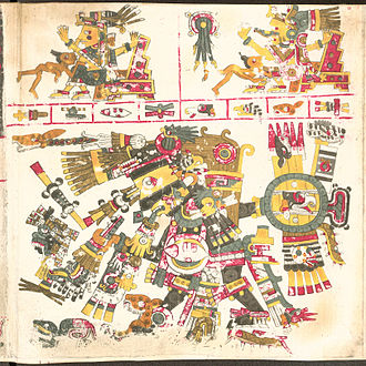 Aztec creator gods - Tezcatlipoca (bottom), god of providence in the Codex Borgia.