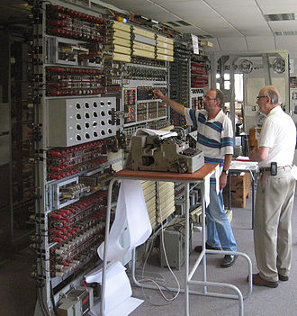 Lorenz cipher - A team led by Tony Sale (right) reconstructed a Colossus (Mark II) at Bletchley Park. Here, in 2006, Sale supervises the breaking of an enciphered message with the completed machine.