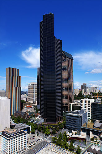 Columbia Center - The southwest face of Columbia Center from Smith Tower, August 2007.
