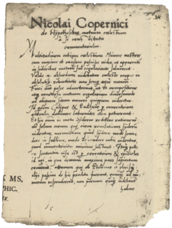 <i>Commentariolus</i> work by Copernicus