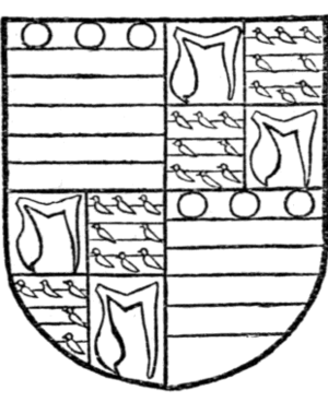 Edmund Grey, 1st Earl of Kent - Arms of Edmund Grey, Earl of Kent (d. 1489): Quarterly, 1st and 4th: Barry of six argent and azure in chief three torteaux (Grey); 2nd and 3rd: Or, a maunch gules (Hastings) quartering Barry of argent and azure an orle of martlets gules (Valence). From his 1442 seal
