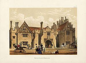 Compton Wynyates - A 19th-century romanticised view of the gate house at Compton Wynyates.