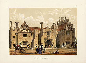 Compton Wynyates - A 19th-century romanticised view of the gate house at Compton Wynyates.