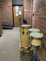 Conga and Bongos in the Blair School of Music practice room hallway.jpg