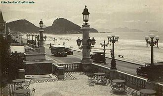 Copacabana Palace - Beach view from the entrance of the Copacabana Palace in the 1930s