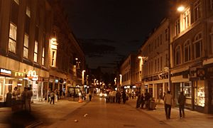 Cornmarket Street - Night view, looking north up Cornmarket