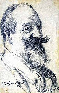 Anonymous sketch of Bogdan-Pitești, 1917 (signed Correggio)