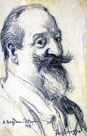 Alexandru Bogdan-Pitești - Anonymous sketch of Bogdan-Pitești, 1917 (signed Correggio)