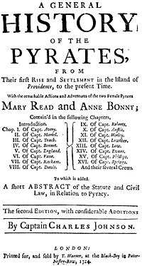 "Cover page of ""A General History of the Pyrates"" (1724) by Captain Charles Johnson.jpg"