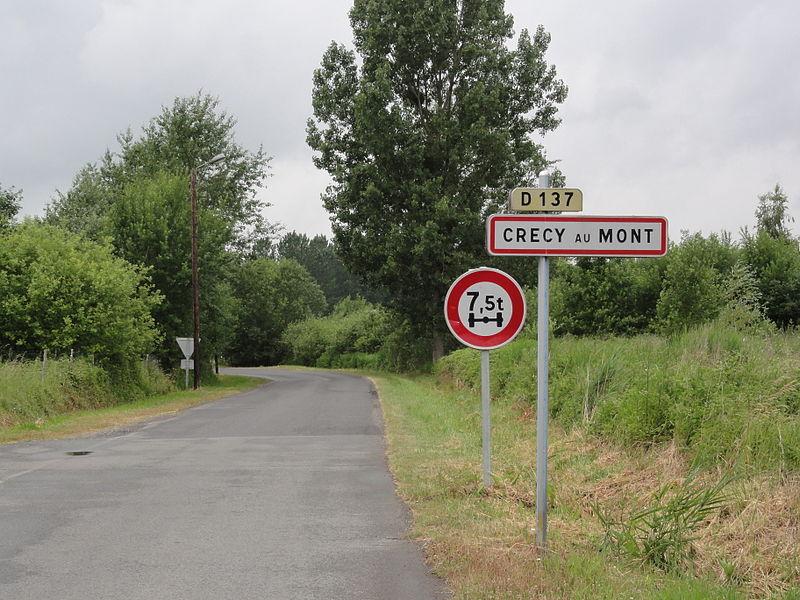 Crécy-au-Mont (Aisne) city limit sign